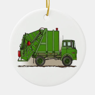 Garbage Truck Green Double-Sided Ceramic Round Christmas Ornament