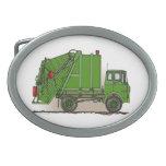 Garbage Truck Green Oval Belt Buckle