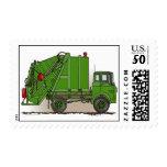 Garbage Truck Green Postage Stamp