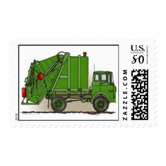 Garbage Truck Green Postage Stamp