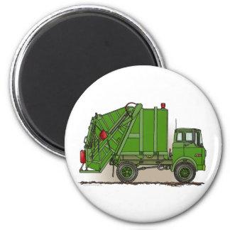 Garbage Truck Green Round Magnet