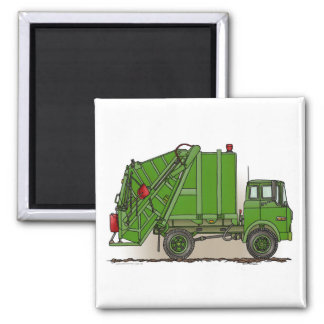 Garbage Truck Green Square Magnet