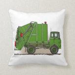 Garbage Truck Green Throw Pillow