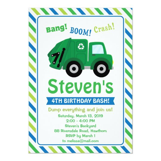 Garbage Truck Invitation Invite