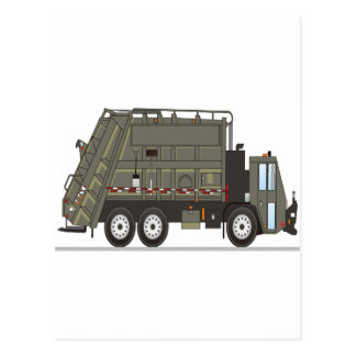 Garbage Truck Military Postcard