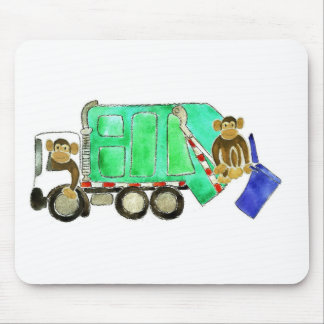 Garbage Truck Monkey Mouse Pad