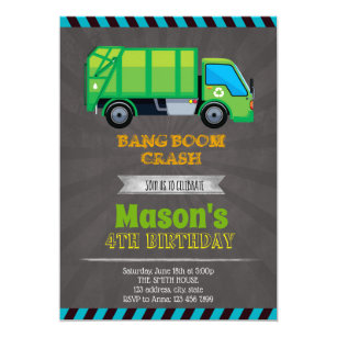 Garbage Truck Party Invitation