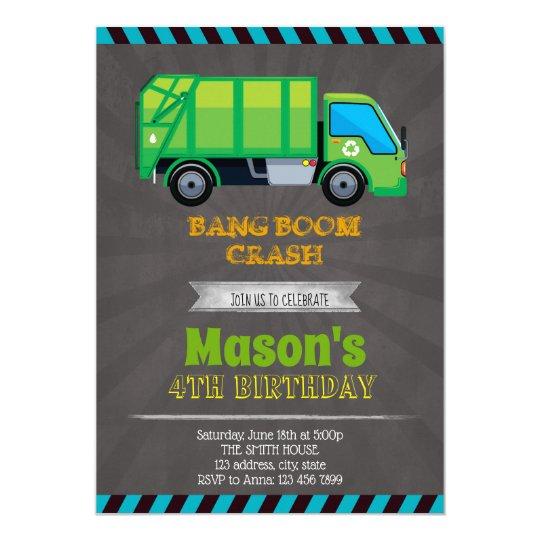 Garbage Truck Party Invitation Zazzle