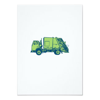 Garbage Truck Rear End Loader Side Woodcut Card