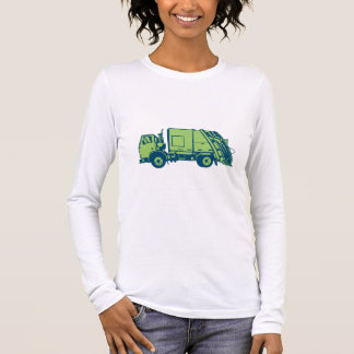 Garbage Truck Rear End Loader Side Woodcut Long Sleeve T-Shirt