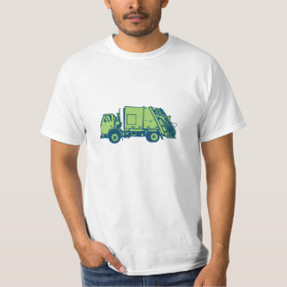 Garbage Truck Rear End Loader Side Woodcut T-Shirt