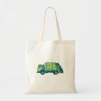 Garbage Truck Rear End Loader Side Woodcut Tote Bag