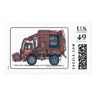 Garbage Truck Rear Loader Stamp