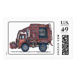 Garbage Truck Rear Loader Stamp