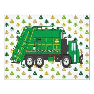 Garbage Truck Shamrocks Card