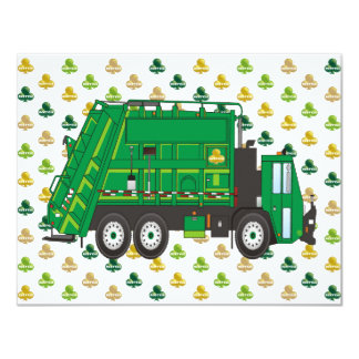 Garbage Truck Shamrocks 4.25x5.5 Paper Invitation Card