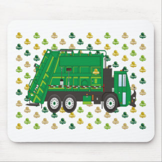 Garbage Truck Shamrocks March Mouse Pad
