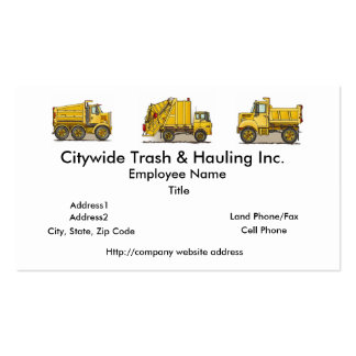 Garbage Truck Yellow Business Cards