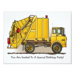 "Garbage Truck Yellow  Kids Party Invitation 4.25"" X 5.5"" Invitation Card"