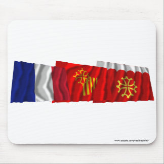 Gard, Languedoc-Roussillon & France flags Mouse Pad