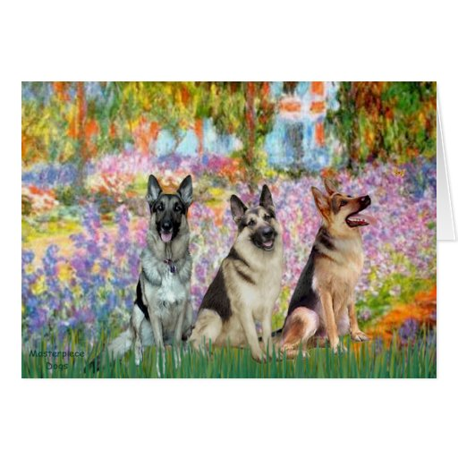 Garden - 3 German Shepherds Card