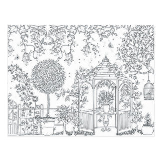 garden adult coloring postcard gift