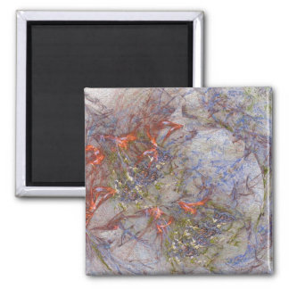 Garden and Butterflies 2 Inch Square Magnet