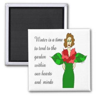 "Garden Angel ""Winter Rose"" Magnet"