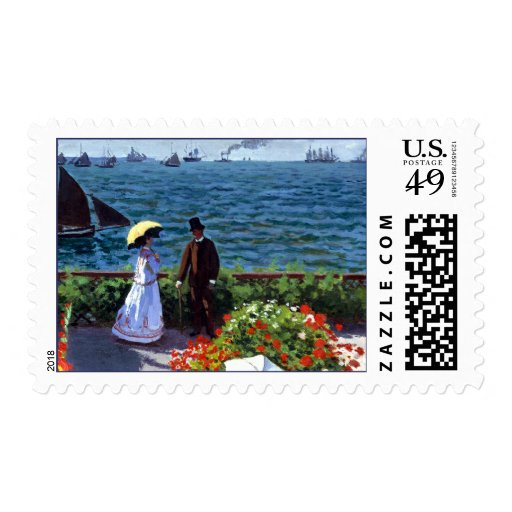 Garden at Sainte-Adresse by Claude Monet Postage Stamp