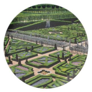 Garden at Villandry Chateau, Indre-et-Loire, Melamine Plate