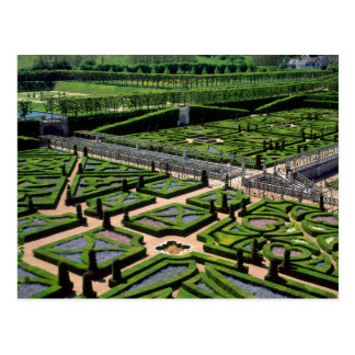 Garden at Villandry Chateau, Indre-et-Loire, Postcard