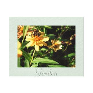 Garden Bee Yellow Flowers Art Photography Canvas Print
