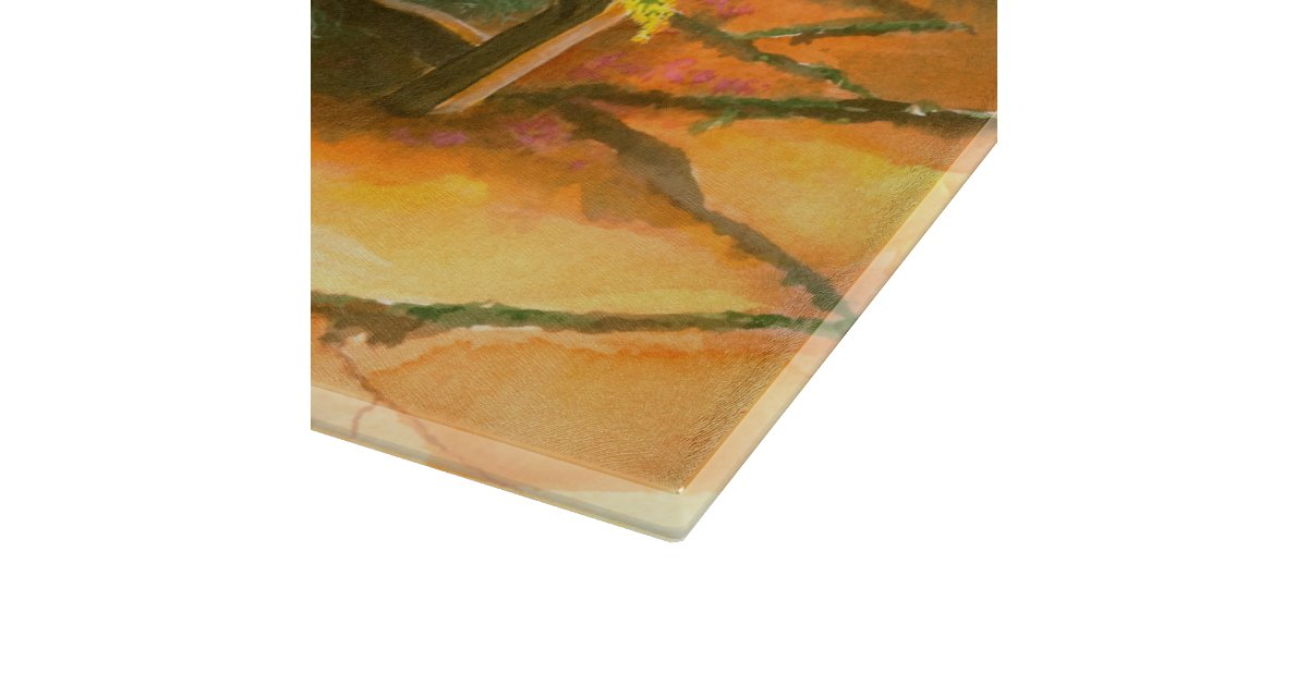 Garden bench glass cutting board zazzle - Decorative tempered glass cutting boards ...
