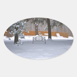 Garden bench with snow oval sticker