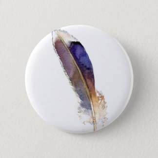 Garden Bird Feather Watercolor Button