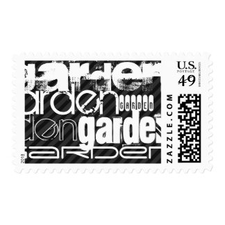 Garden; Black & Dark Gray Stripes Postage