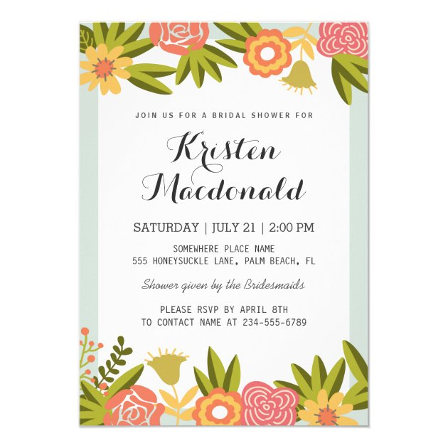 Garden Blooming Flowers Modern Bridal Shower Card