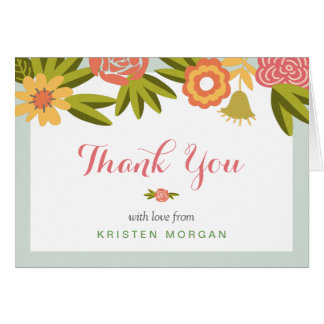 Garden Blooming Modern Floral Thank You Card