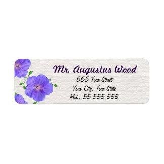 Garden Blue Flower Purple Name on White Structure Label