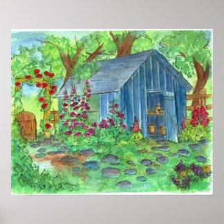 Garden Blue Potting Shed Country Cottage Art Poster