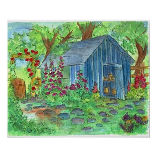 Garden Blue Potting Shed Country Cottage Art Poster Zazzle