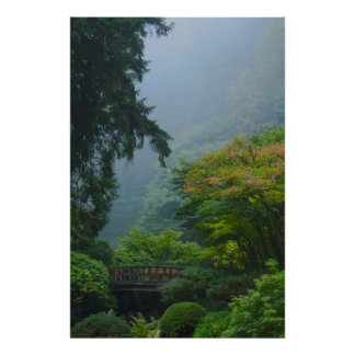 Garden Bridge in the Mist Poster