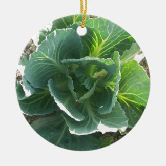 Garden Cabbage Double-Sided Ceramic Round Christmas Ornament