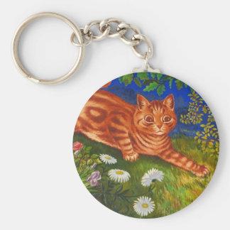 Garden Cat Artwork by Louis Wain Basic Round Button Keychain