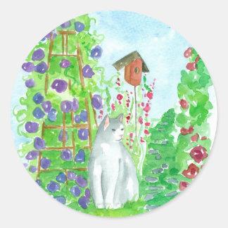 Garden Cat Bird House Purple Hollyhocks Classic Round Sticker