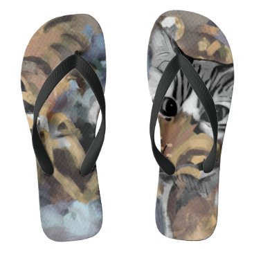 Beach Themed Garden Cat- Blue Flip Flops