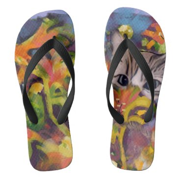 Beach Themed Garden Cat Flip Flops