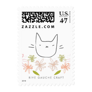 Garden Cat in the Chrysanthemums Postage