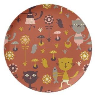Garden cats plate