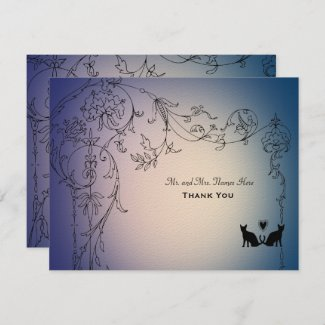 Garden Cats Thank You Personalized with envelopes